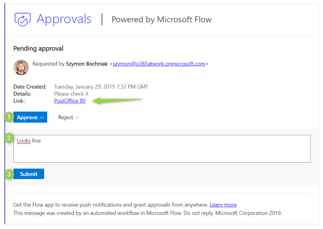 Microsoft Flow: Request a sign-off - Office365 atWork
